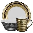 10 Strawberry Street Cairo Gold and Silver Porcelain Dinnerware