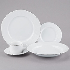 10 Strawberry Street Vine Silver Line White Porcelain Dinnerware