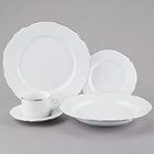 10 Strawberry Street Vine Silver Line White Porcelain Dinnerware