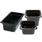 Black Regular Temperature Plastic Food Pans & Lids
