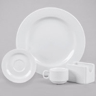 CAC Boston Embossed Bright White Porcelain Dinnerware