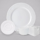CAC Corona Embossed Super White Porcelain Dinnerware