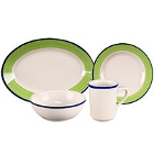 Homer Laughlin Shamrock and Cobalt Rolled Edge China Dinnerware