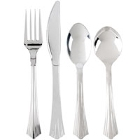 Heavy Weight Stainless Steel Look Plastic Flatware
