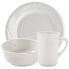 Tuxton Monterey Embossed Rim Ivory (American White) China Dinnerware