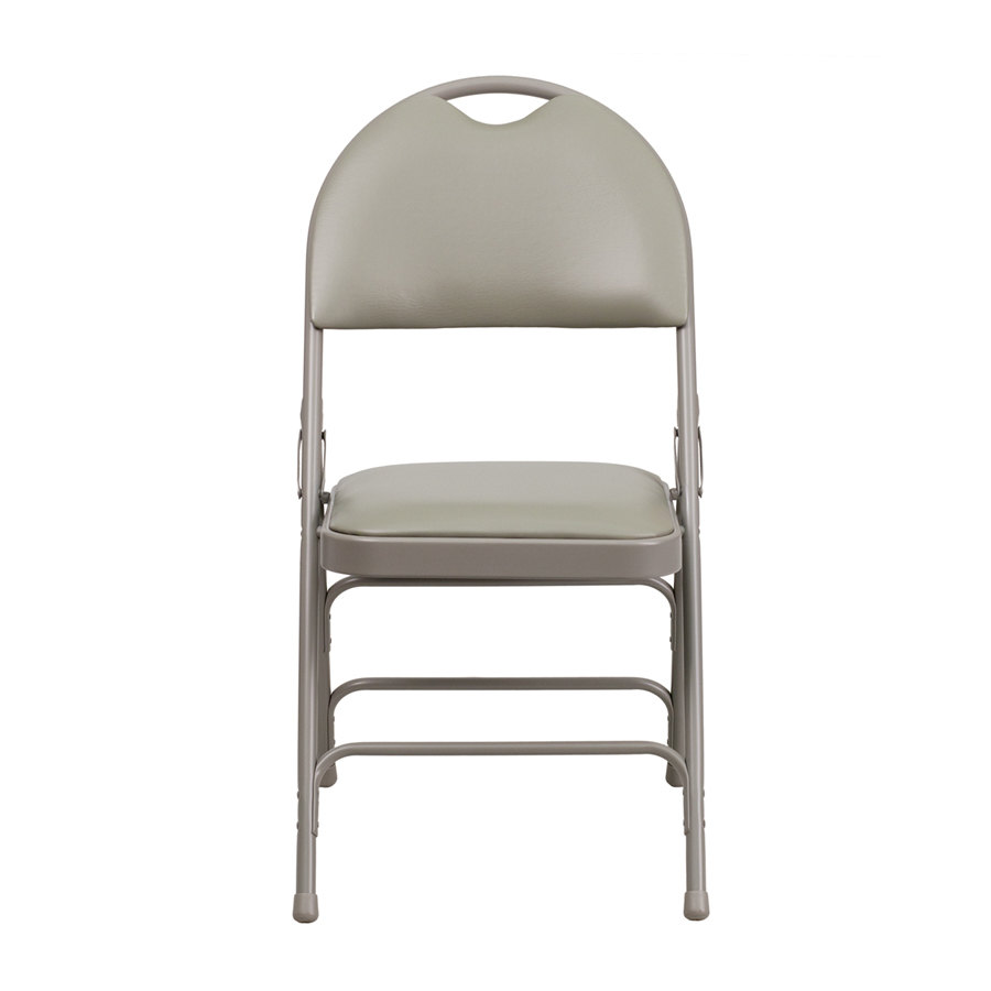 Gray Metal Folding Chair With 1 Padded Vinyl Seat With Easy Carry Handle