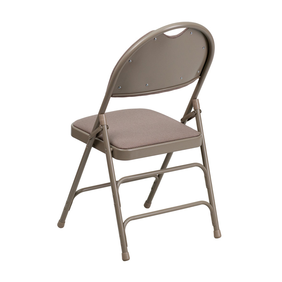 beige metal folding chair with 1 padded fabric seat. Black Bedroom Furniture Sets. Home Design Ideas