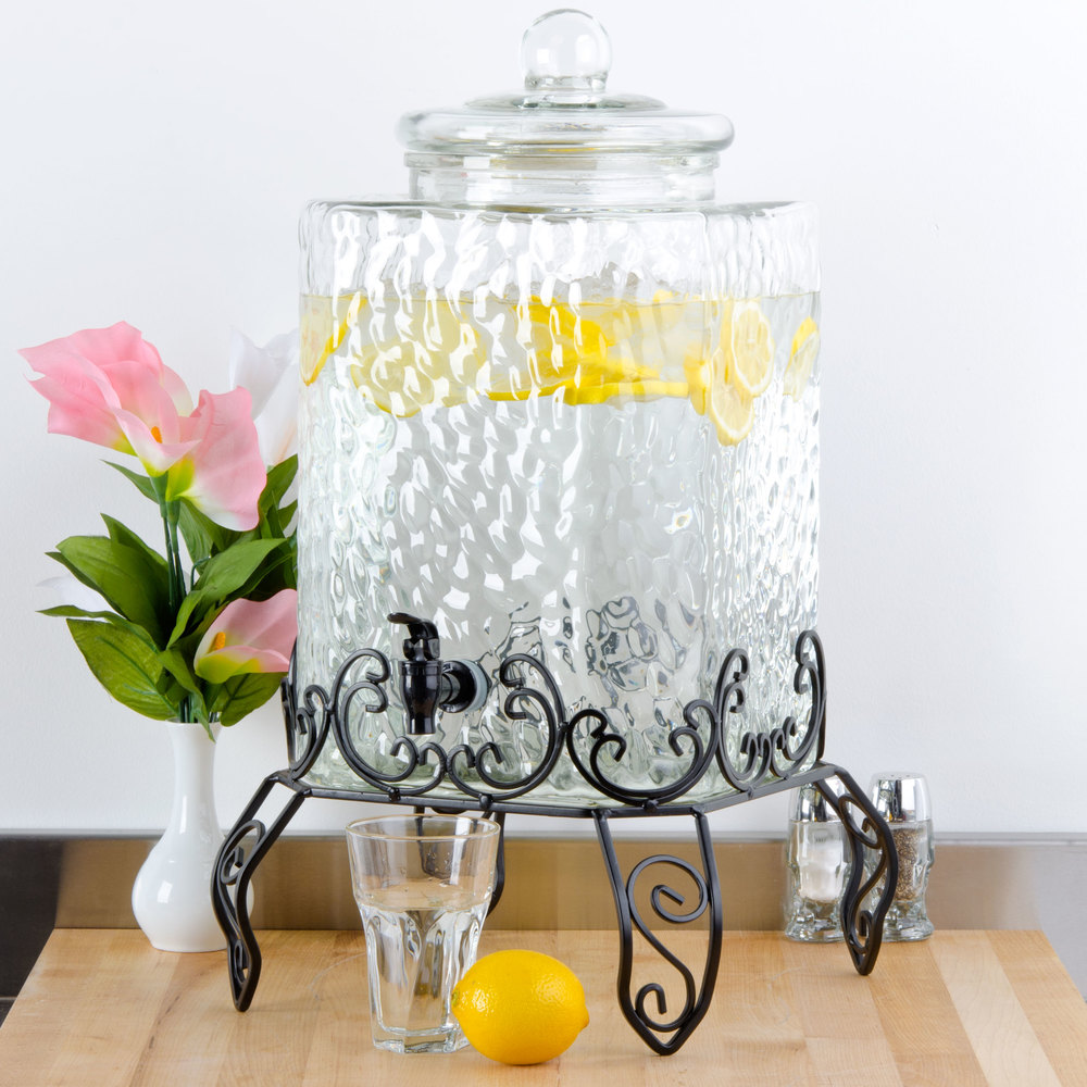 Drink Dispenser With Ice Core Metal Stand for Core 5 Gallon Glass Beverage Dispenser