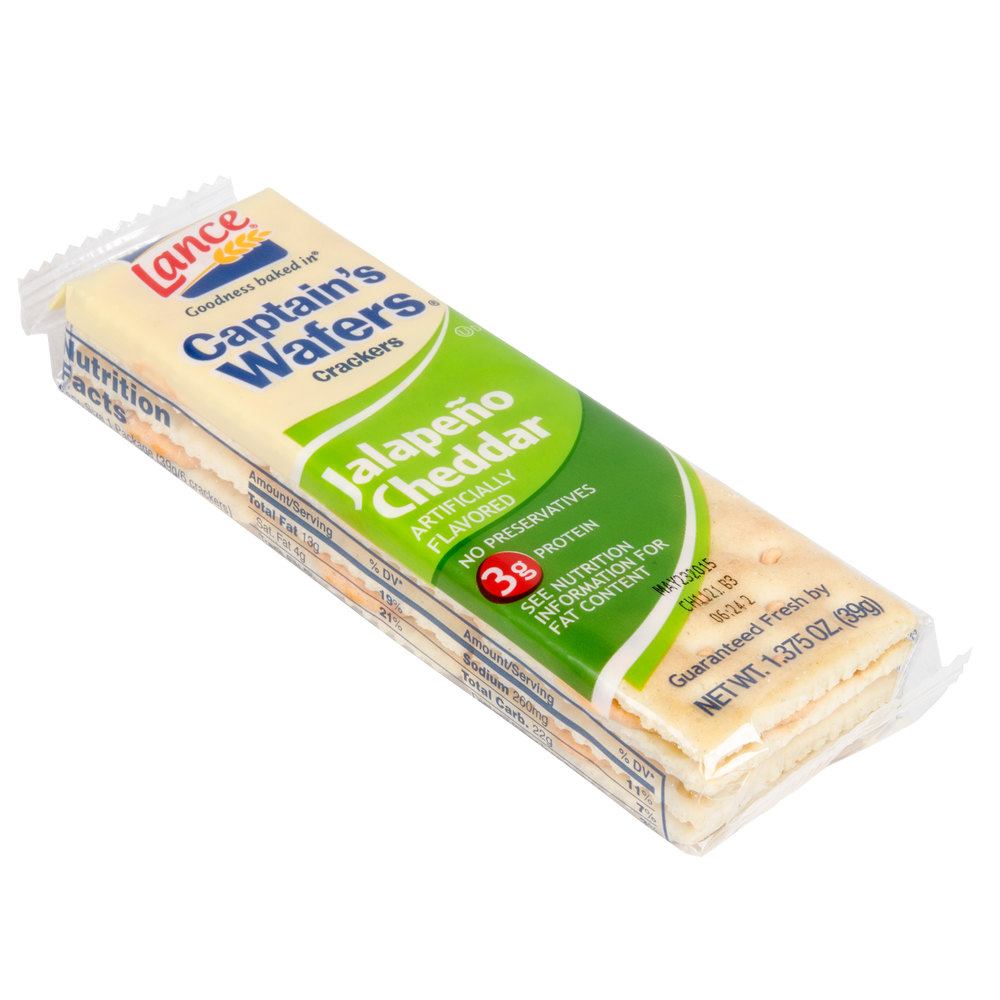 Lance Captain's Wafers Jalapeno Cheddar Sandwich Crackers 20 Count Box ...