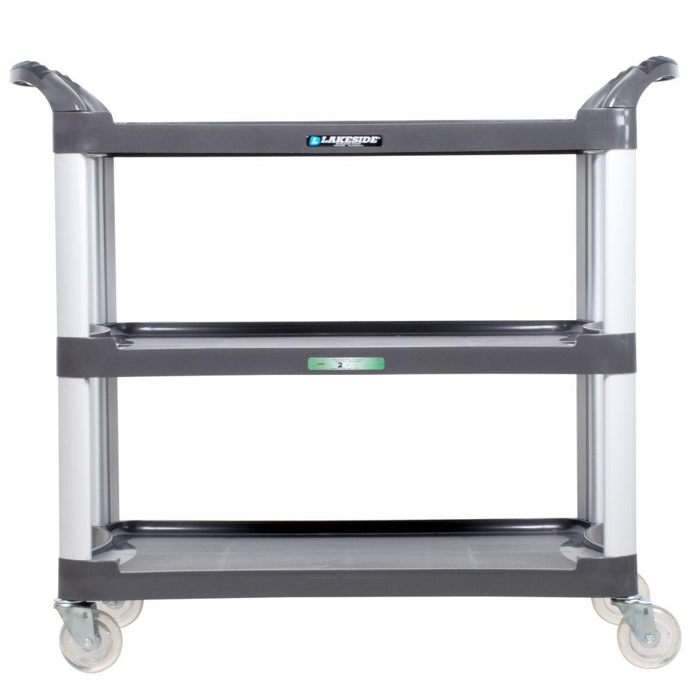 lakeside 2512 charcoal plastic three shelf utility cart. Black Bedroom Furniture Sets. Home Design Ideas