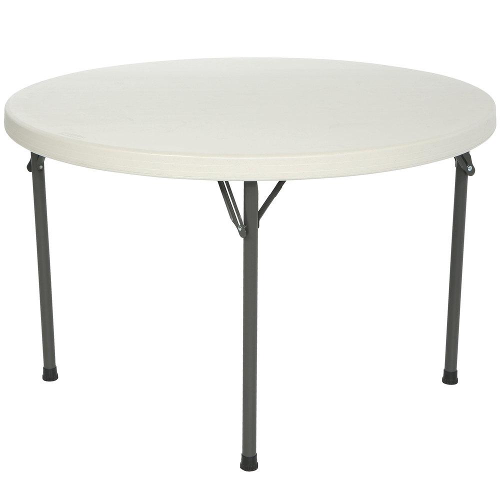 lifetime round folding table 46 plastic almond 4 pack 42968. Black Bedroom Furniture Sets. Home Design Ideas