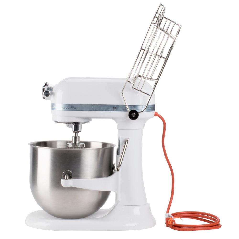 White Kitchenaid 8 Qt Commercial Mixer Bowl Guard Ksmc895wh Webstaurantstore