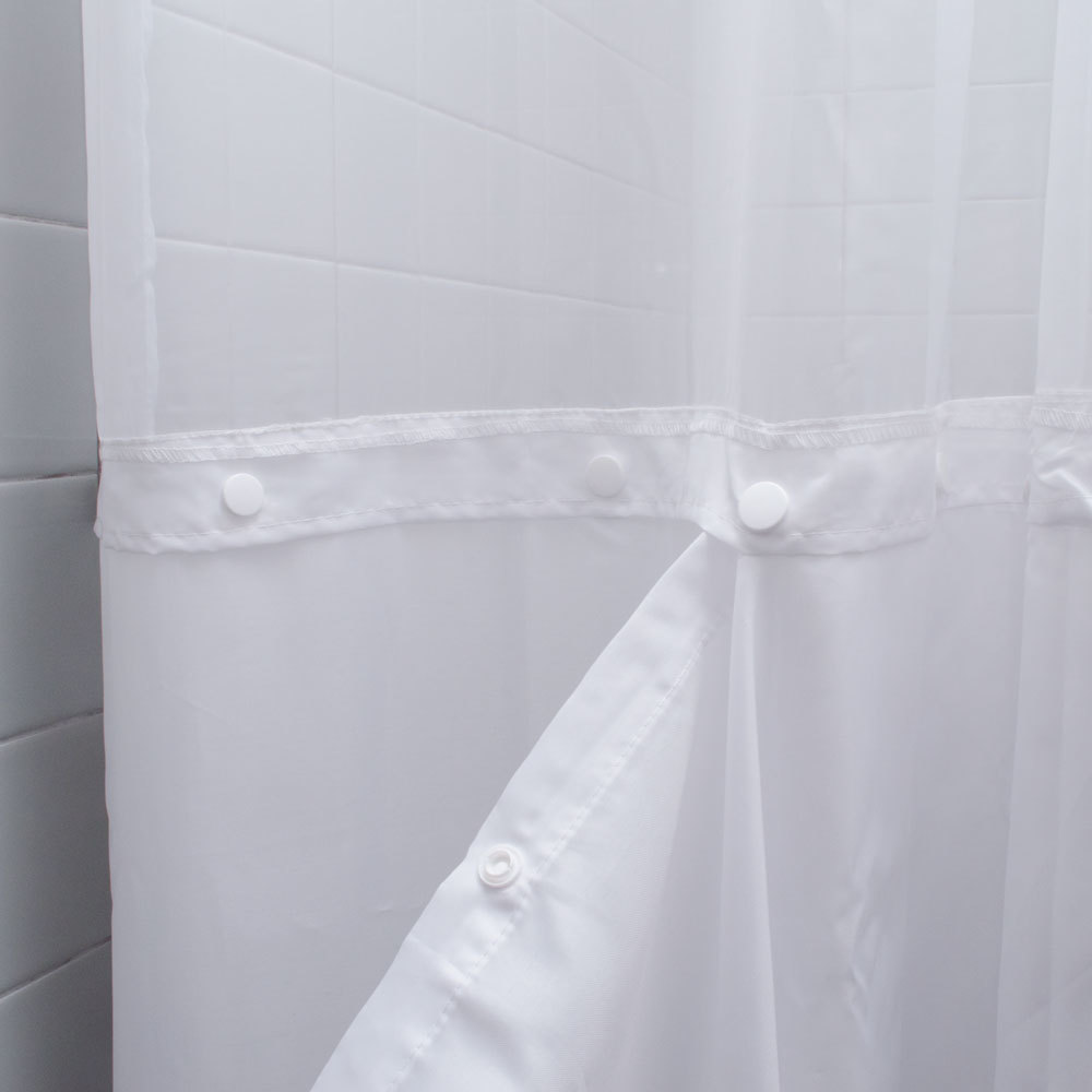 100 Polyester 71 X 74 White Ringless Shower Curtain With 12 Sheer Voile Window And Removable