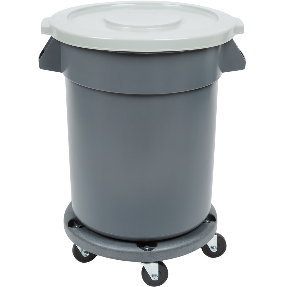 20 gallon gray trash can lid and dolly kit. Black Bedroom Furniture Sets. Home Design Ideas