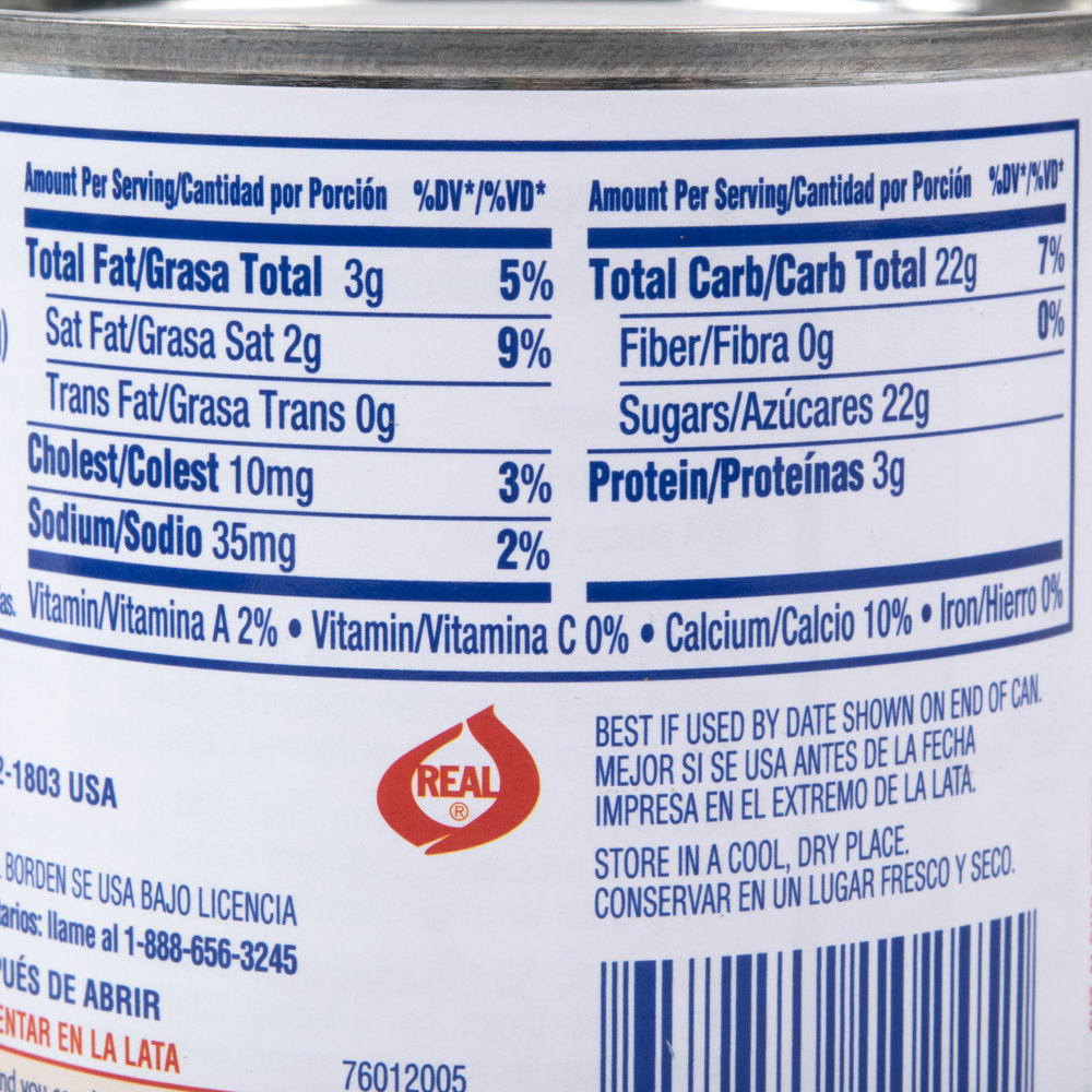 sweetened condensed milk nutrition