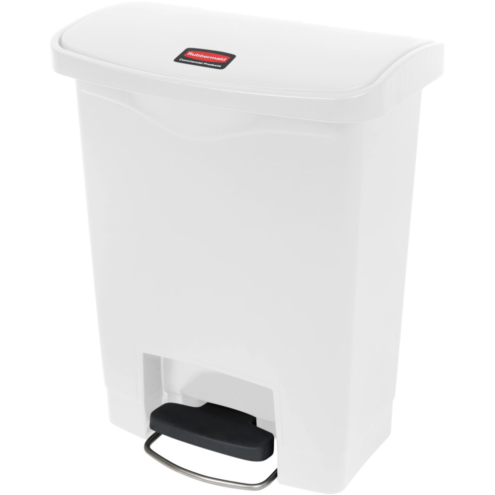 rubbermaid 1883555 slim jim resin white front step on trash can 8 gallon. Black Bedroom Furniture Sets. Home Design Ideas
