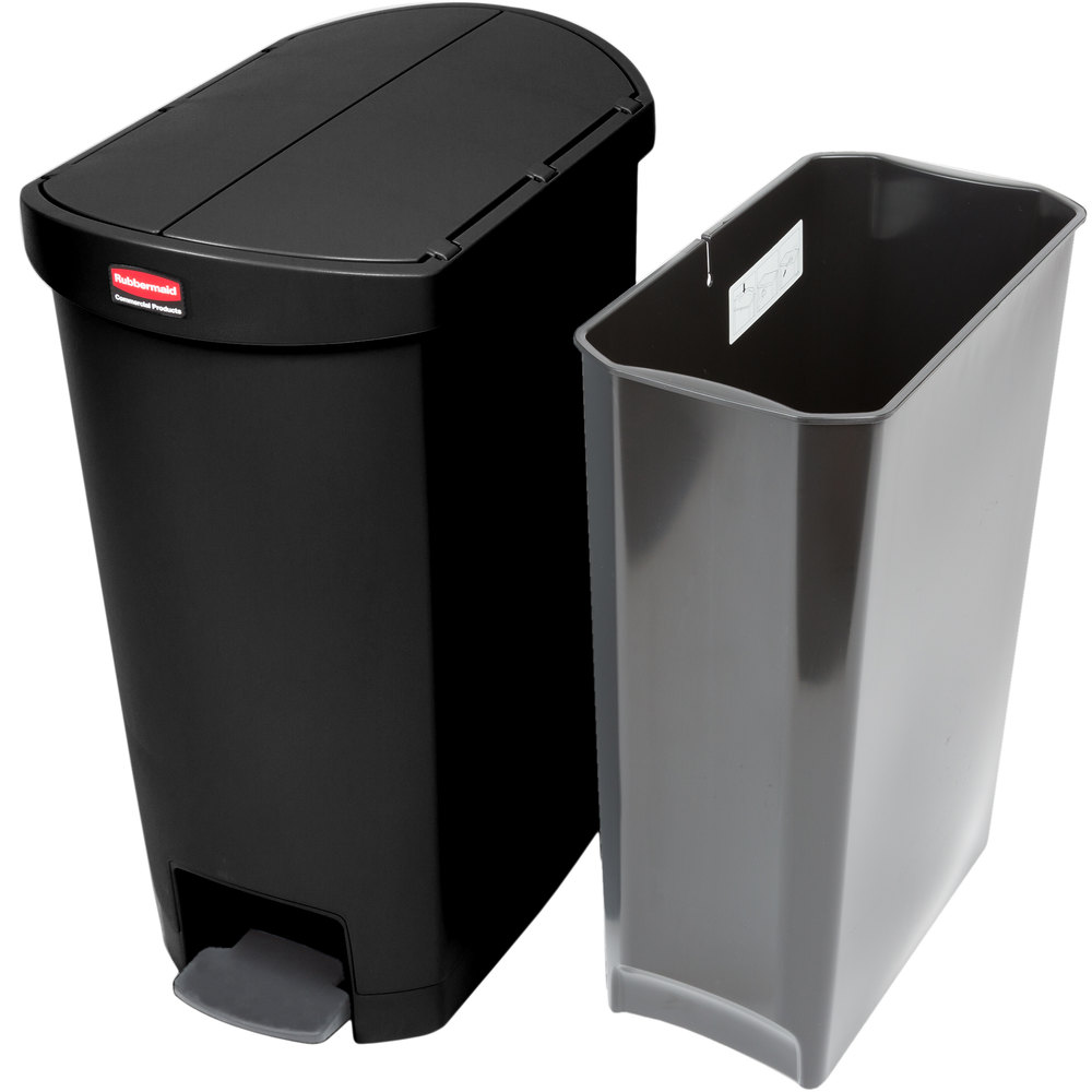 rubbermaid 1883612 slim jim resin black end step on trash can with rigid plastic liner 13 gallon. Black Bedroom Furniture Sets. Home Design Ideas