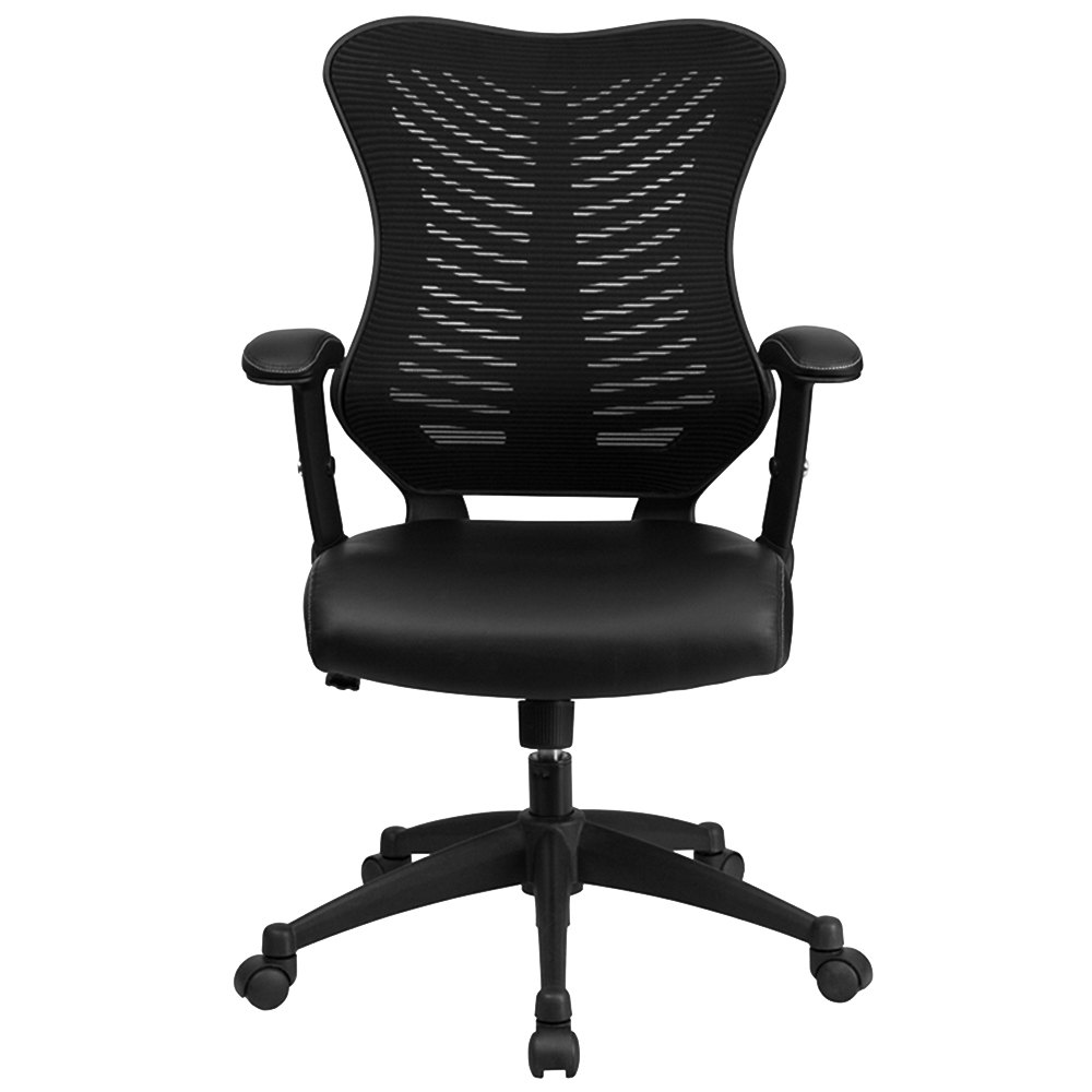High Back Black Mesh Executive Office Chair With Leather Seat And Nylon Base