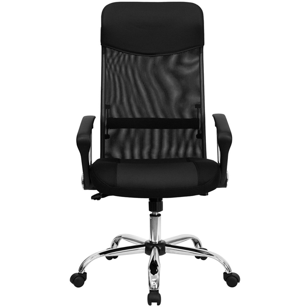 High back black mesh office chair with split leather and mesh seat and chrome base - Pizza rapid silla ...