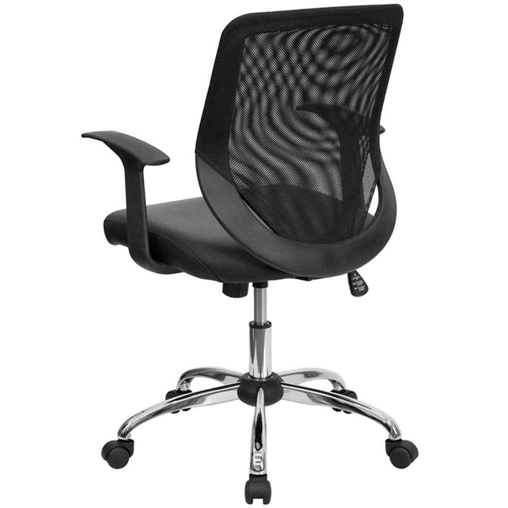 furniture lf w95 lea bk gg mid back black mesh office chair with mesh