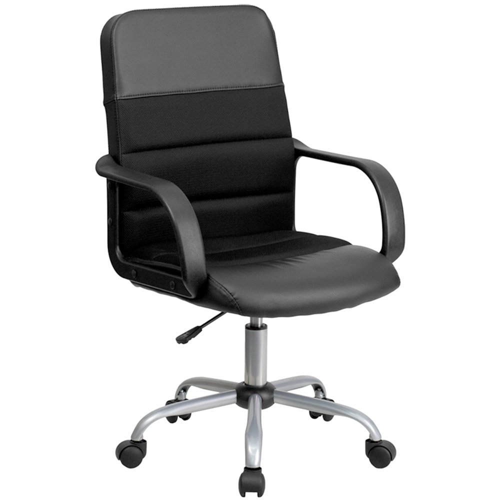 Mid Back Black Mesh Office Chair With Leather Seat And Nylon Base