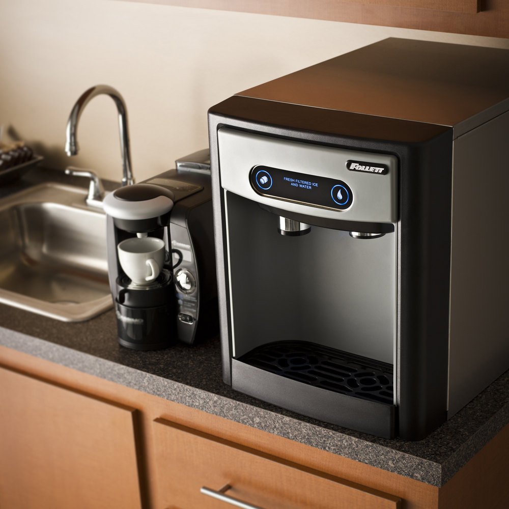 Water Cooler Coffee Maker Combo : Follett 7CI100A-IW-NF-ST-00 7 Series Air Cooled Countertop Ice Maker and Water Dispenser with 7 ...