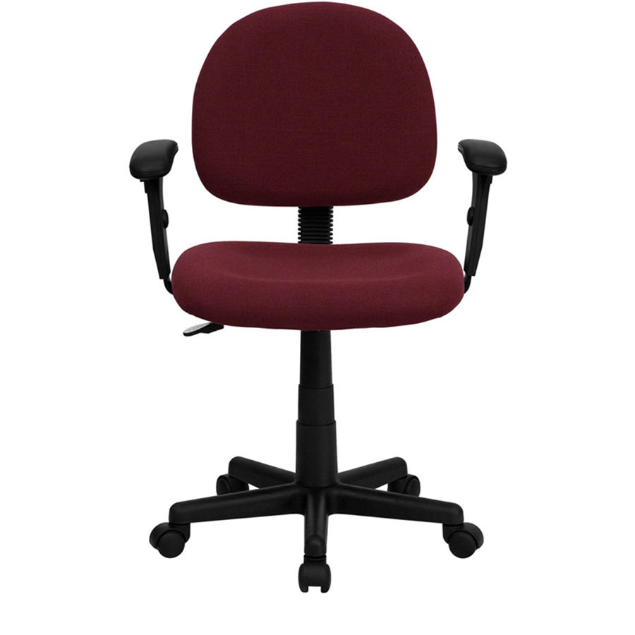 Mid back burgundy ergonomic office chair task chair with for Ergonomic chair