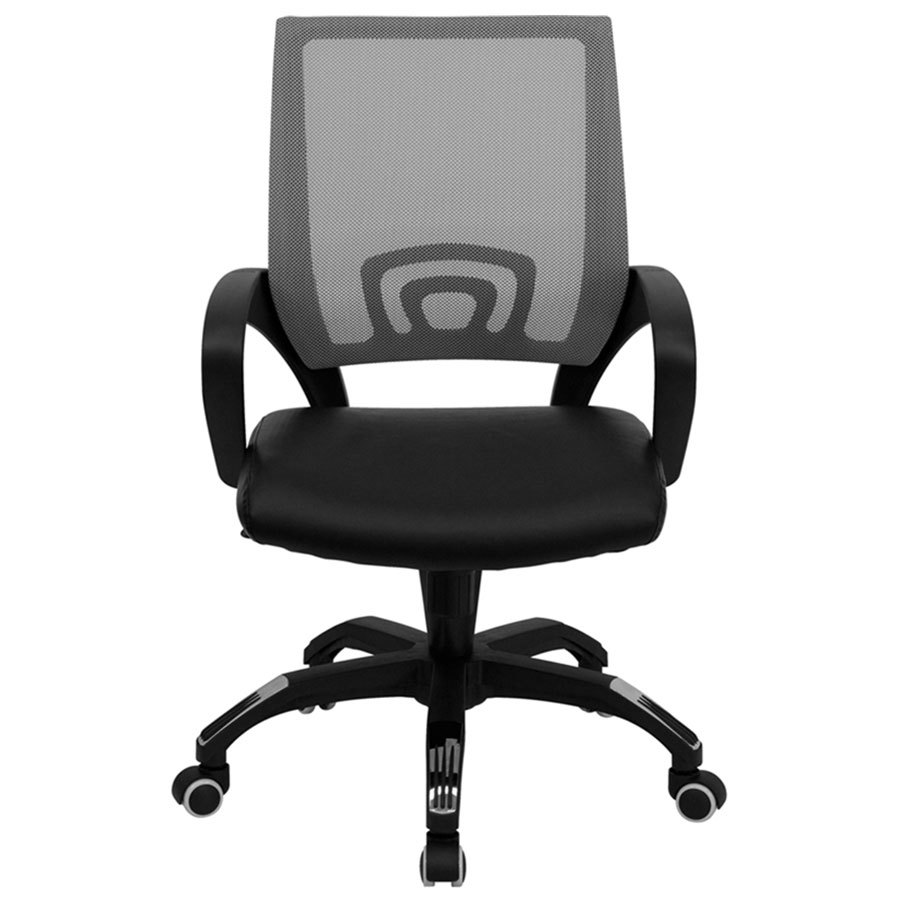 mid back computer office chair with gray mesh back and