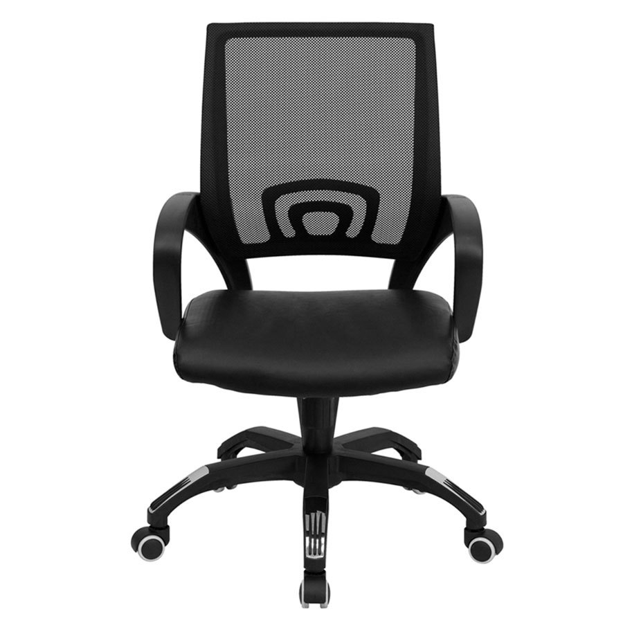 computer office chair with black mesh back and black leather seat