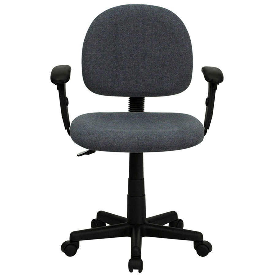 mid back gray ergonomic office chair task chair with adjustable arms. Black Bedroom Furniture Sets. Home Design Ideas