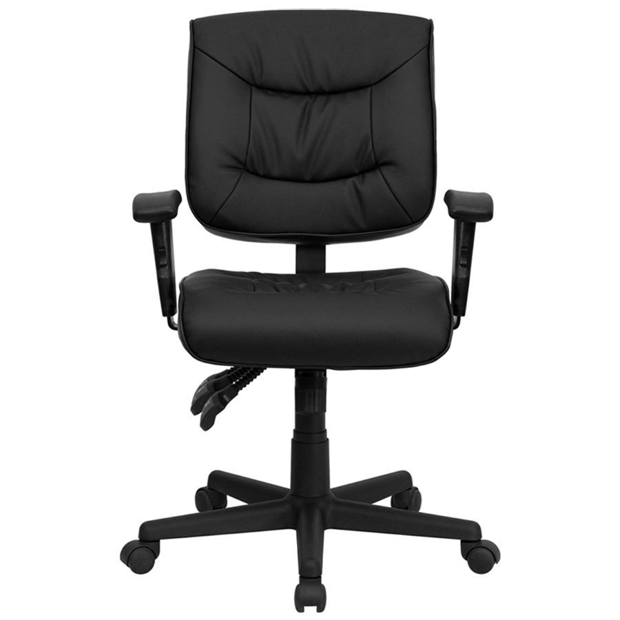 Mid Back Black Leather Multi Functional Office Chair Task Chair With Adjust