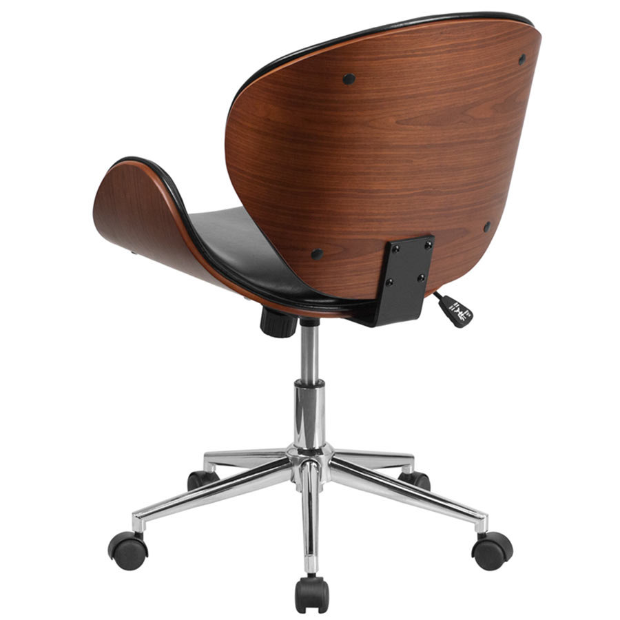 mid back black leather walnut wood conference swivel chair