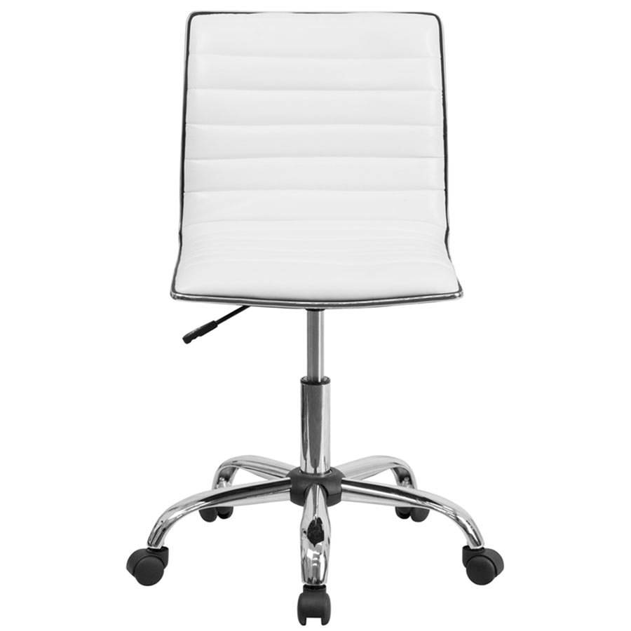 mid back designer ribbed white leather office chair task
