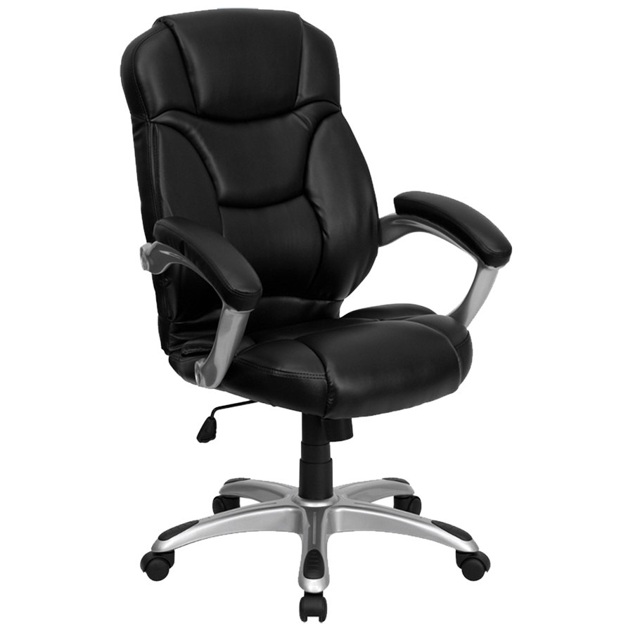 back black leather contemporary office chair with silver colored base