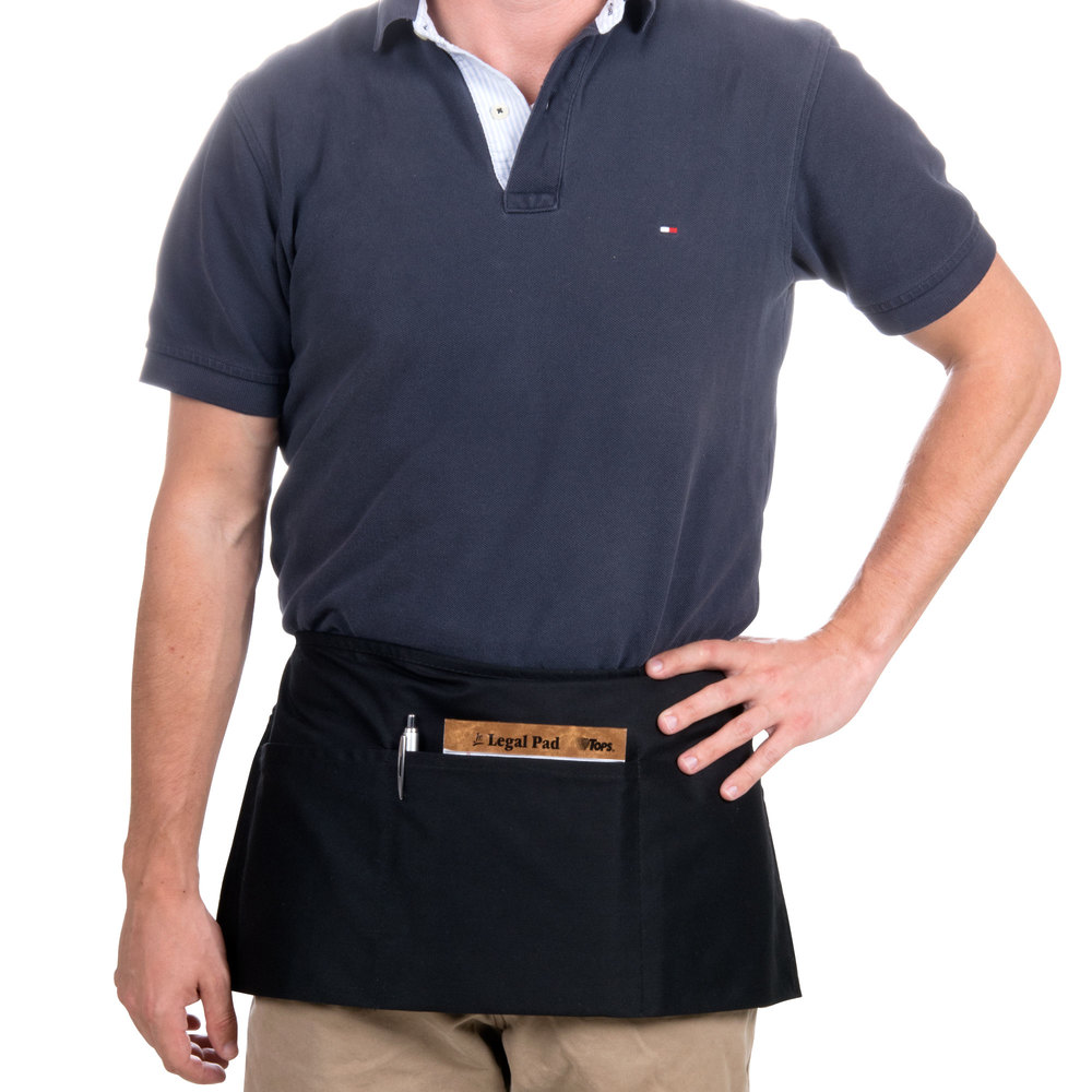 "Black Apron Target Australia: 24"" X 12"" Black Front Of The House Waist Apron With Three"