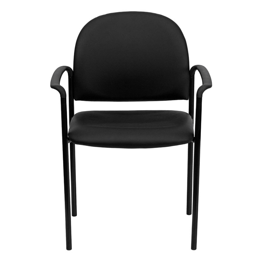 Black vinyl stackable side chair with arms