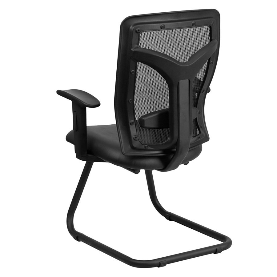 mesh side arm chair with leather seat and adjustable lumbar support