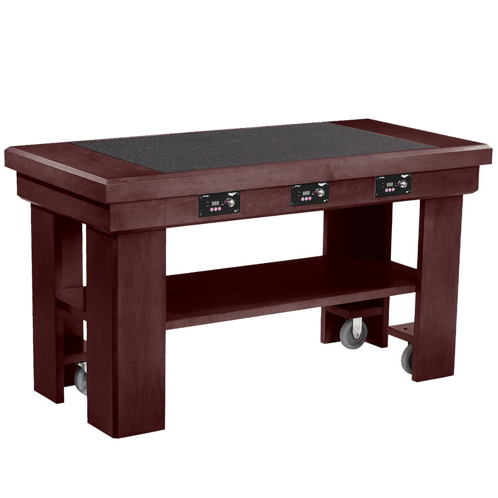 Vollrath 7552284 60 mahogany induction buffet table with for Table induction