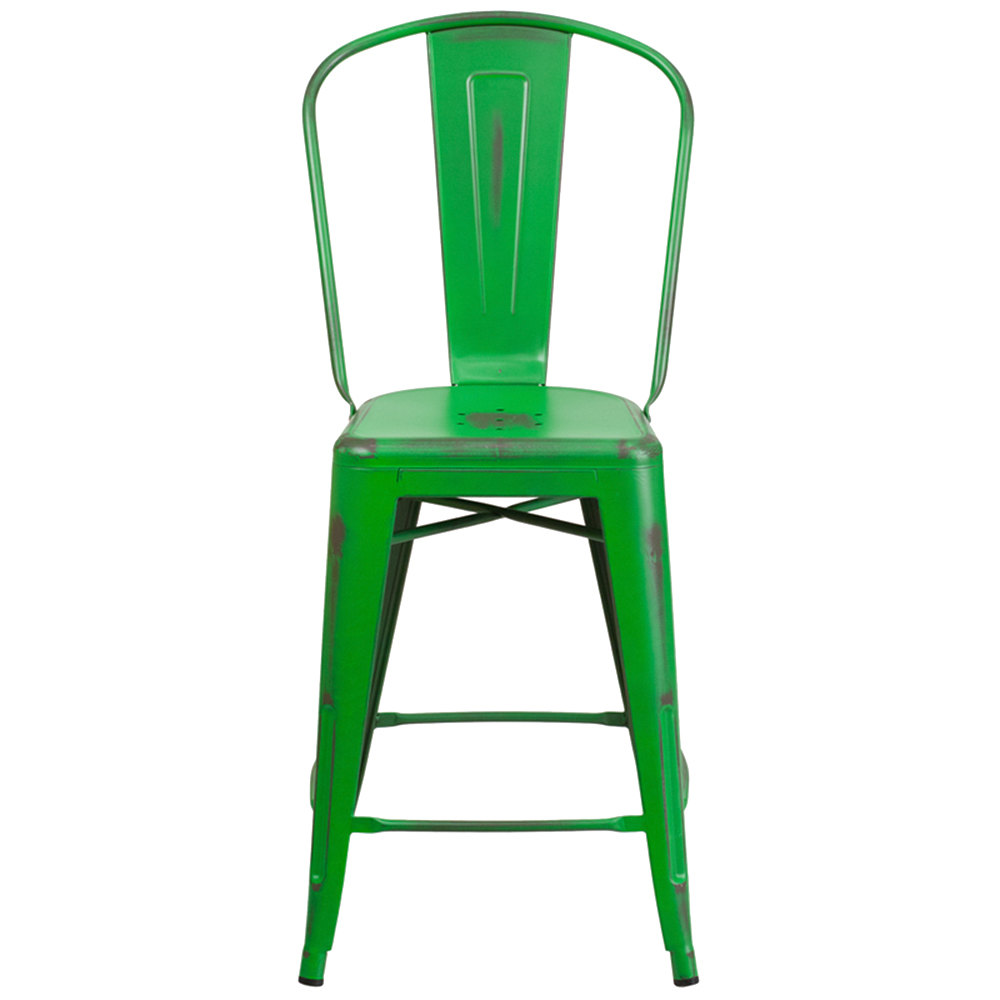 Distressed Green Metal Counter Height Stool With Vertical