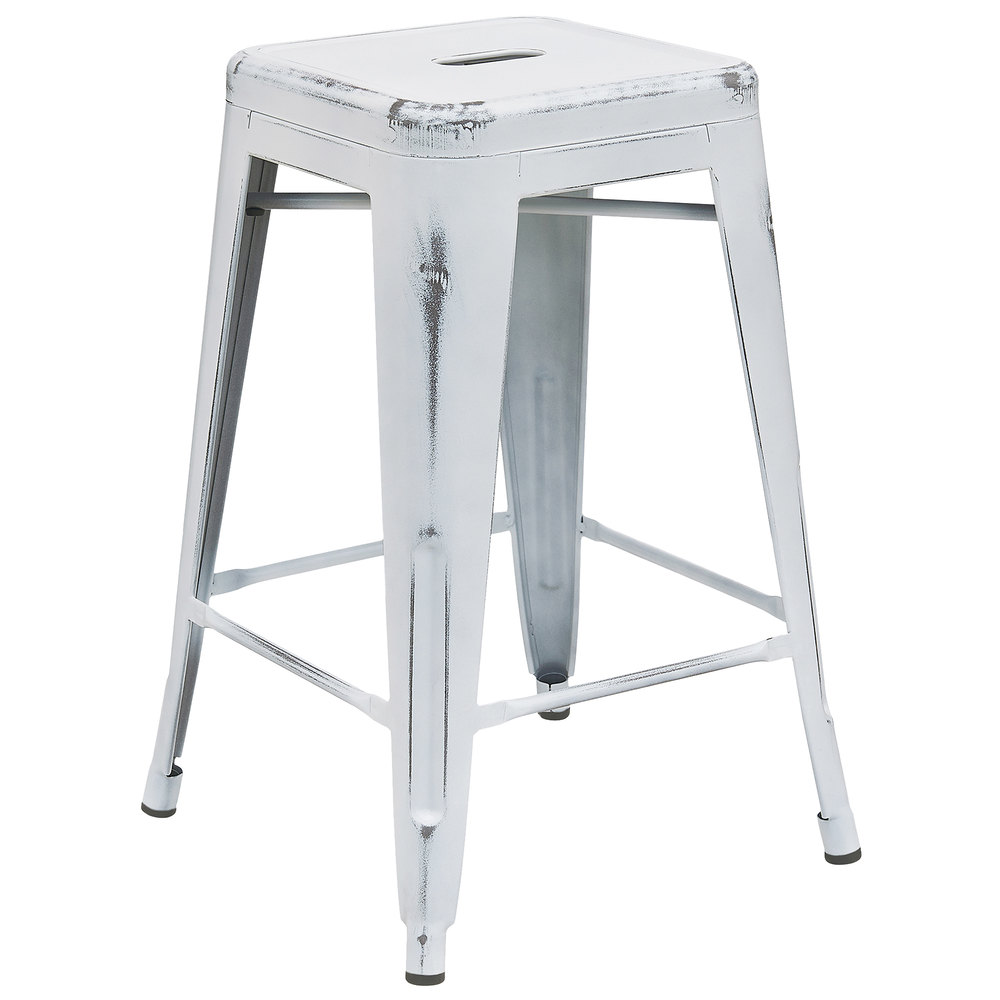 Distressed White Stackable Metal Counter Height Stool With