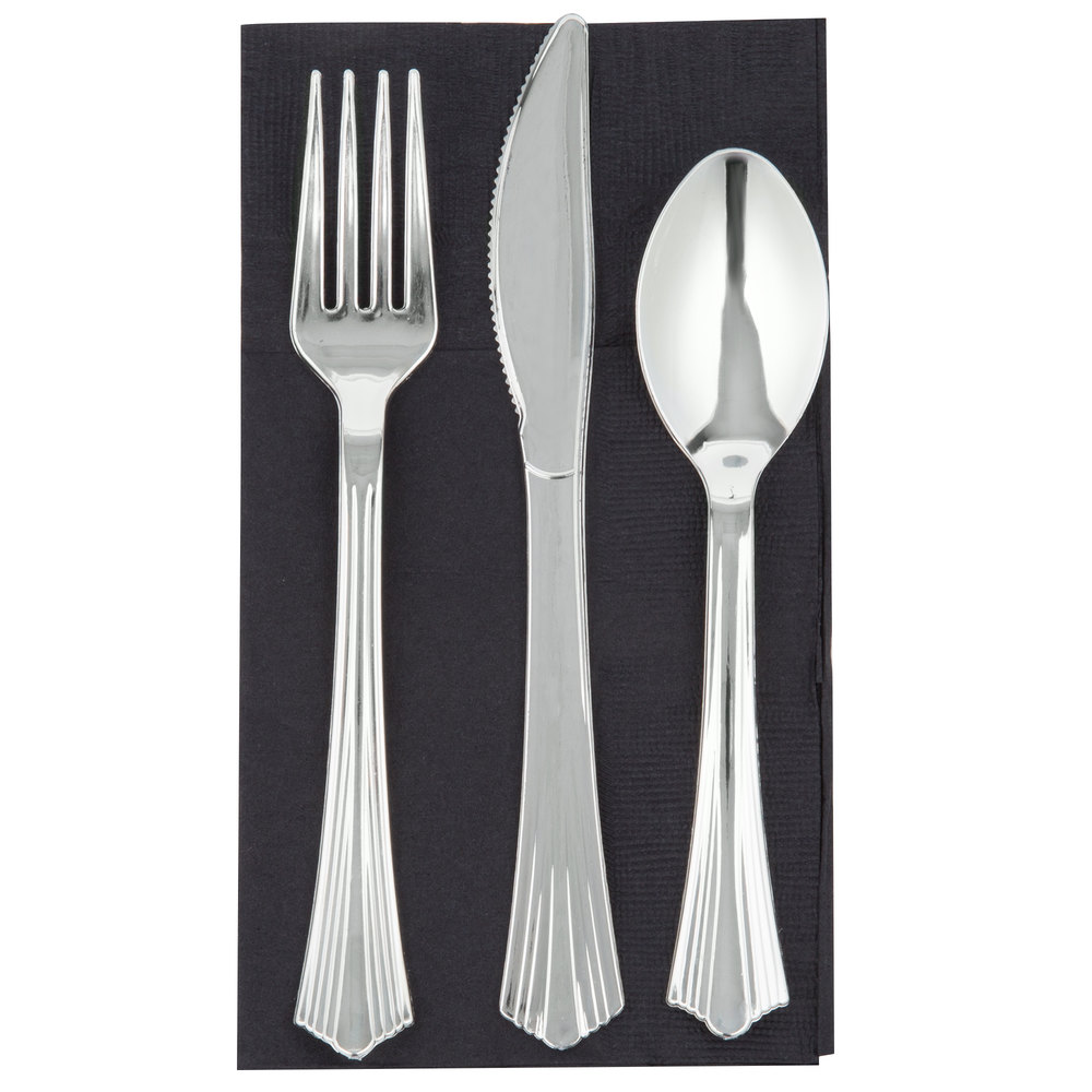 Silver Visions Silver Heavy Weight Plastic Cutlery Set ...
