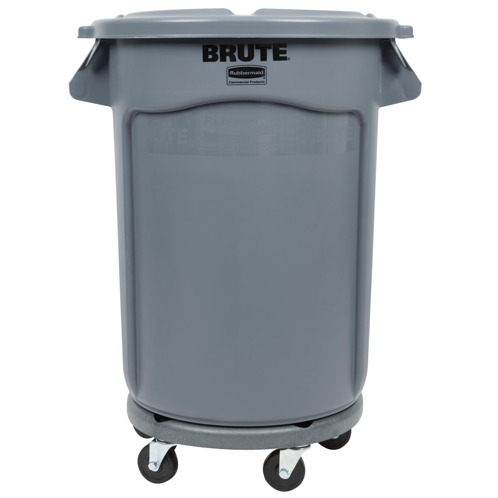 rubbermaid brute 32 gallon gray trash can lid and dolly kit. Black Bedroom Furniture Sets. Home Design Ideas