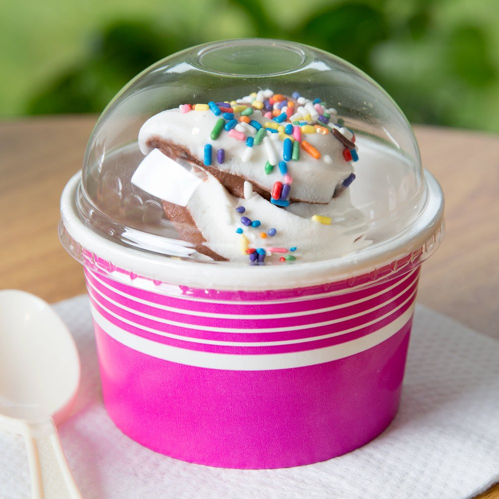 ice cream cups choice 8 12 oz clear dome frozen yogurt lid with 30318