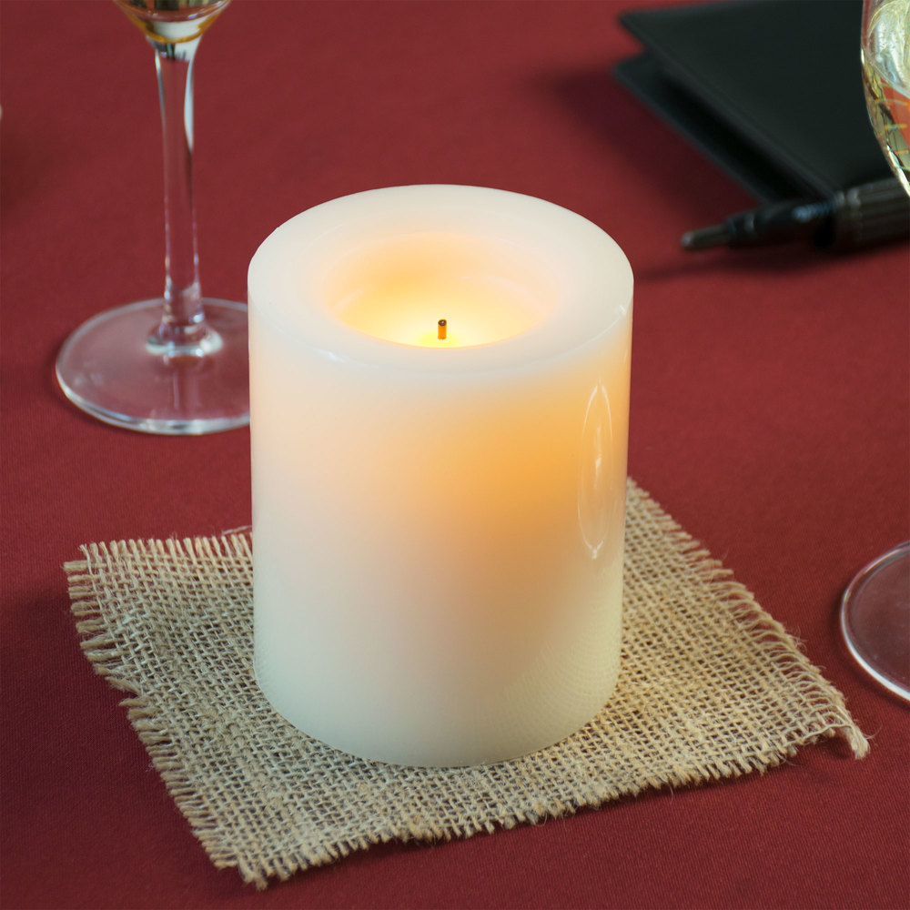 """Restaurant Table Lamps Battery Operated Sterno Products 60140 4"""" Cream Programmable Flameless Real Wax Pillar ..."""