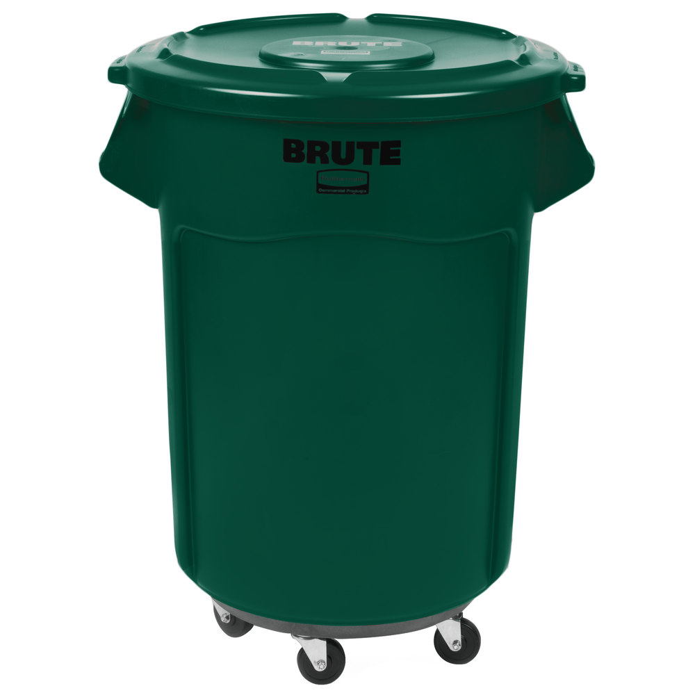 rubbermaid brute 55 gallon green trash can with lid and dolly. Black Bedroom Furniture Sets. Home Design Ideas