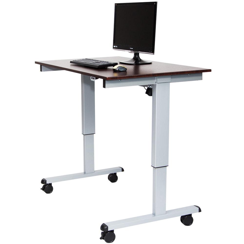 luxor stande 48 ag dw electric stand up desk with aluminum frame and dark walnut desktop 48. Black Bedroom Furniture Sets. Home Design Ideas