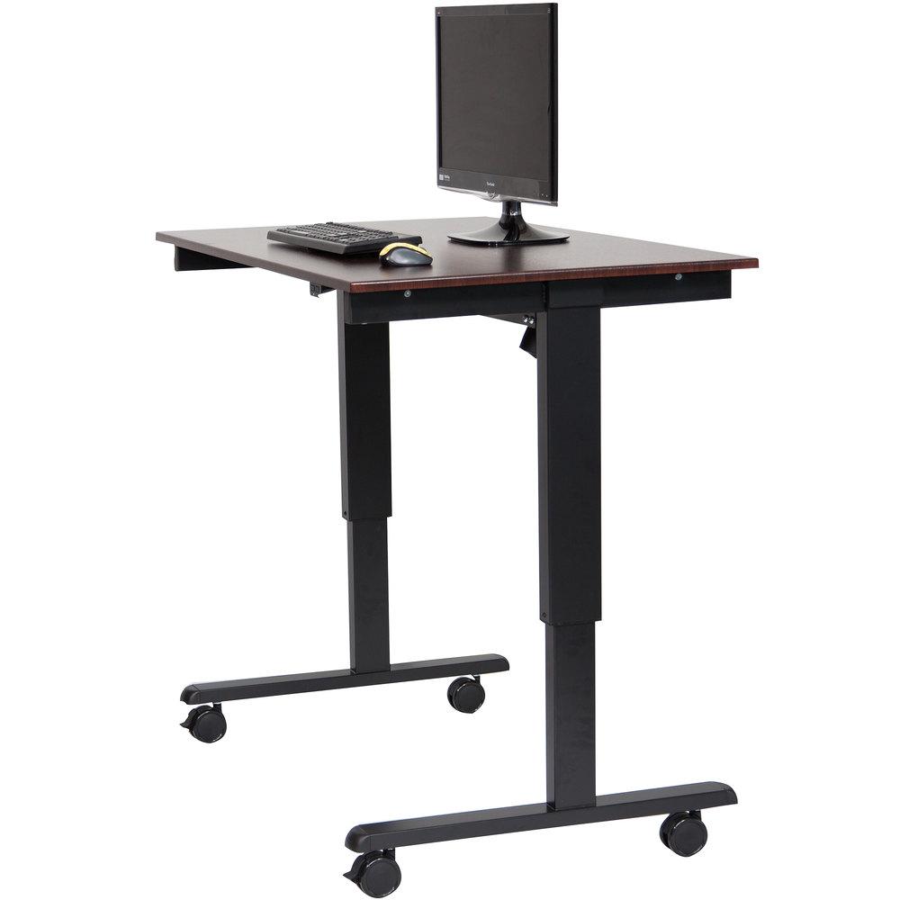 luxor h wilson stande 48 bk dw electric stand up desk with black frame and dark walnut. Black Bedroom Furniture Sets. Home Design Ideas