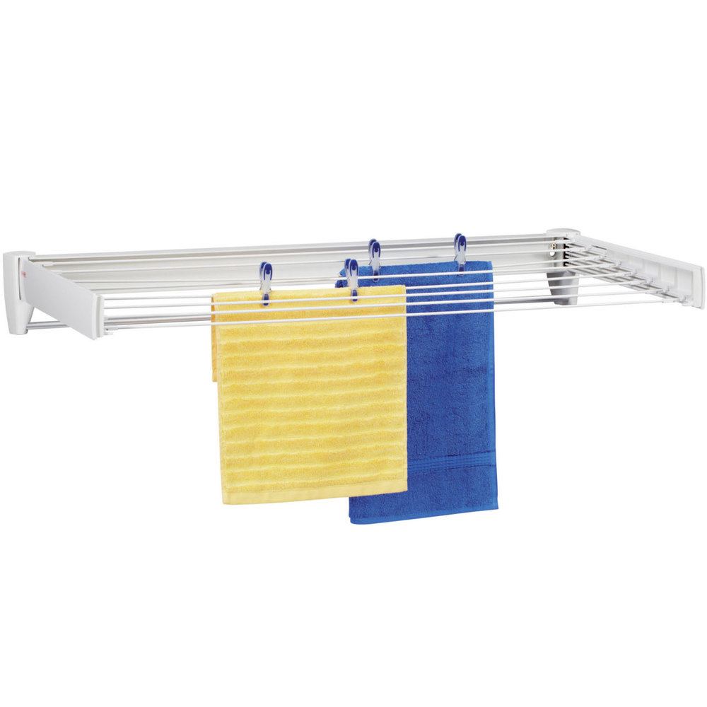 40 5 8 white retractable wall mount drying rack - Seche linge extensible mural ...