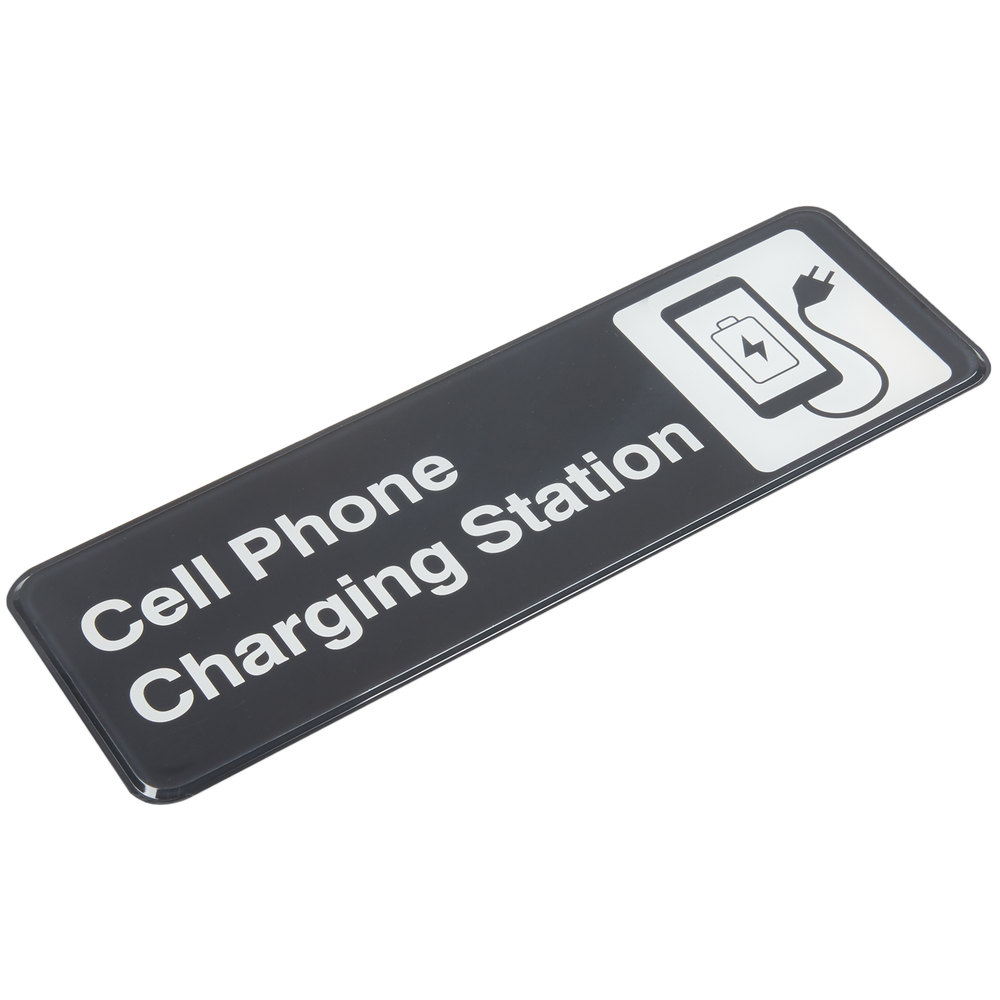 Tablecraft 394565 cell phone charging station sign black Cell phone charging station