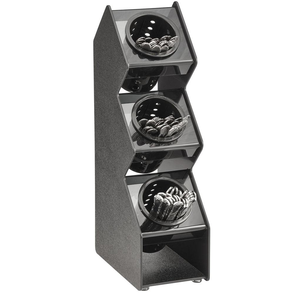 Vollrath fwvh 3b 3 hole vertical countertop flatware organizer for Vertical silverware organizer